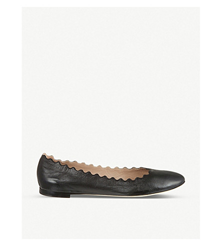 CHLOE Scallop leather ballet flats (Black