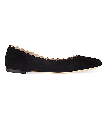 CHLOE Scallop suede pumps (Black