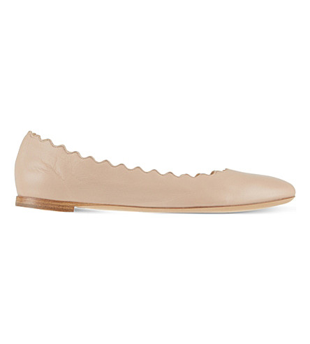 CHLOE Scallop leather ballet flats (Pale+pink