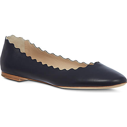 CHLOE Scalloped leather ballet pumps (Navy