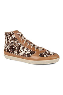 BURBERRY Feildin calf hair and leather high-top trainers