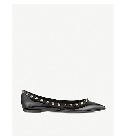 VALENTINO Rockstud patent-leather pointed toe flats (Black