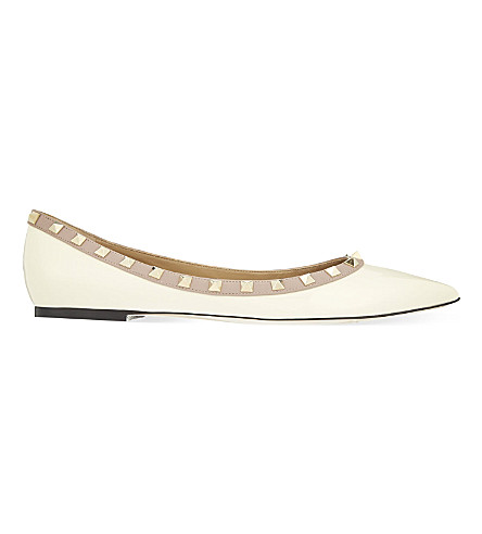 VALENTINO Rockstud patent-leather flats (Winter+wht