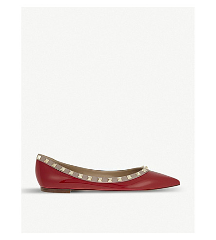 VALENTINO Rockstud leather flats (Red