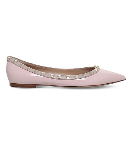 VALENTINO Rockstud patent-leather flats (Pale+pink