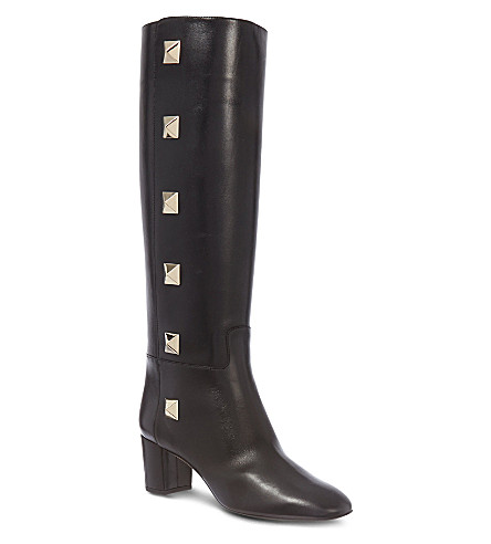 VALENTINO Studded knee-high boots (Black