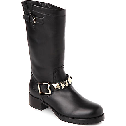 VALENTINO Studded leather biker boots (Blk/beige