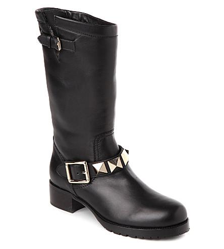 VALENTINO Studded leather biker boots (Blk/beige