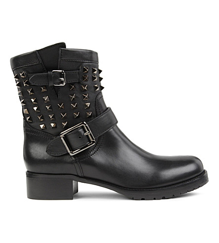VALENTINO Rockstud leather biker boots (Black