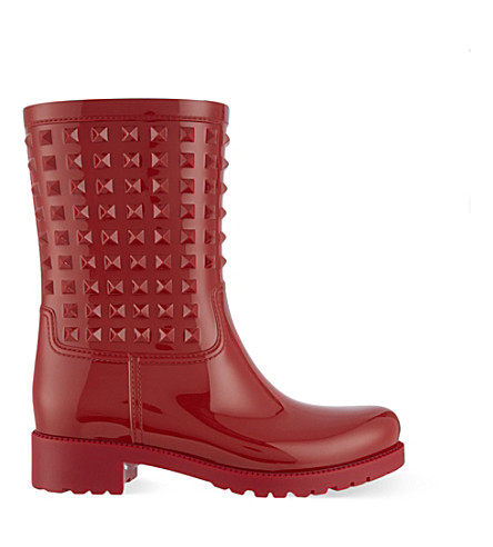 VALENTINO Rockstud wellington boots (Red