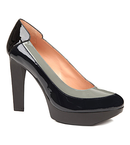 ROBERT CLERGERIE Tomi patent-leather courts (Blk/grey
