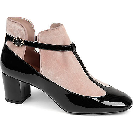 VALENTINO Leather and velvet low-heel courts (Blk/other