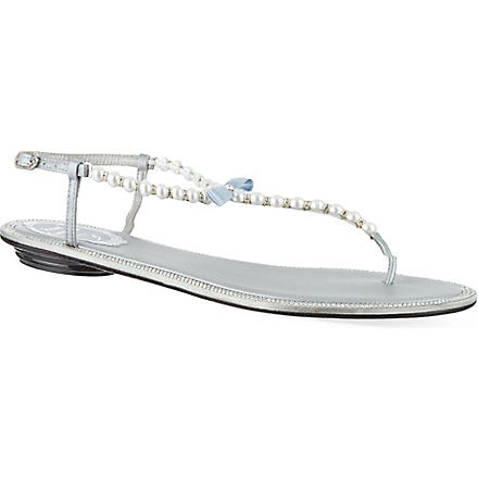 RENE CAOVILLA Sardonyx embellished sandals (Grey/light
