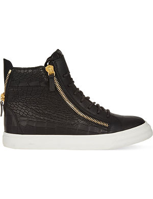 GIUSEPPE ZANOTTI Mock-crock leather wedge trainers