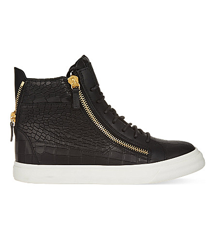GIUSEPPE ZANOTTI Mock-crock leather wedge trainers (Black