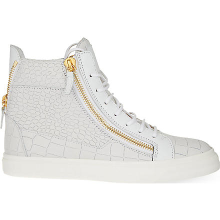 GIUSEPPE ZANOTTI Mock-croc hi top trainers (White