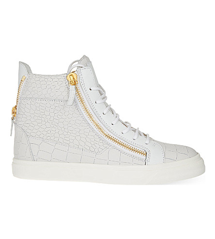 GIUSEPPE ZANOTTI Mock-croc leather high-top trainers (White