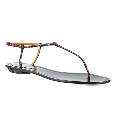 RENE CAOVILLA Herminoe embellished sandals (Wine