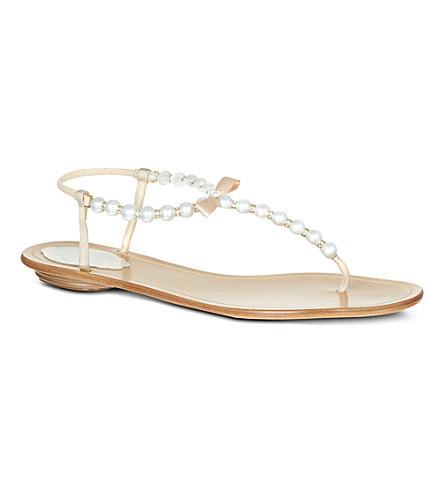 RENE CAOVILLA Trick pearl detail sandals (Beige