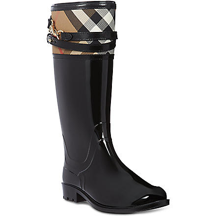 BURBERRY Elderford checked trim wellies (Black