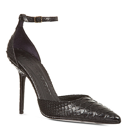 BURBERRY Seaworth scaled leather sandals (Black