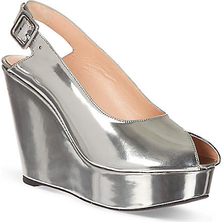 ROBERT CLERGERIE Bustyma metallic platform wedge sandals (Silver