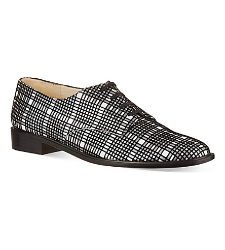 ROBERT CLERGERIE Jasdam flocked check Oxford shoes (Blk/white