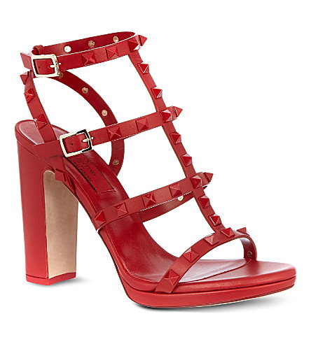 VALENTINO Rockstud leather sandals (Red
