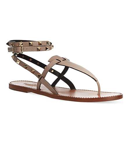 VALENTINO Double-strap Rockstud sandals (Blk/beige