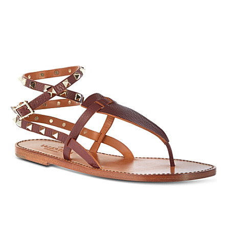 VALENTINO Double-strap Rockstud sandals (Wine