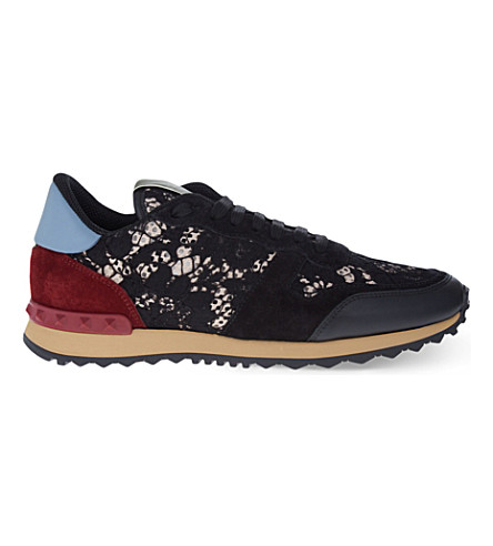 VALENTINO Lace Rockstud trainers (Blk/red