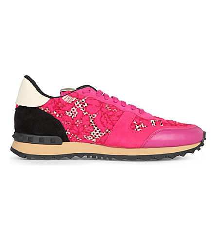 VALENTINO Floral-lace studded trainers (Fushia+cmb