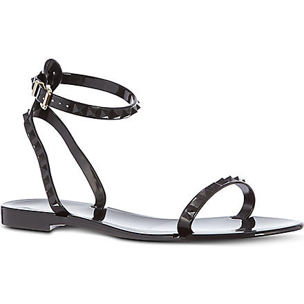 VALENTINO Rockstud ankle strap sandals (Black