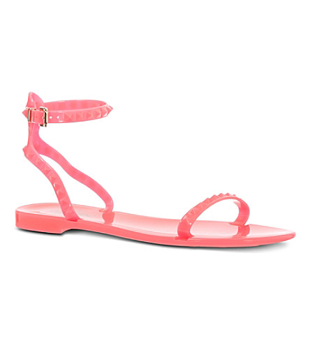 VALENTINO Rockstud ankle strap sandals (Fushia