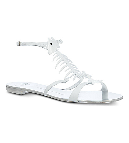 GIUSEPPE ZANOTTI Fishbone leather flat sandals (White