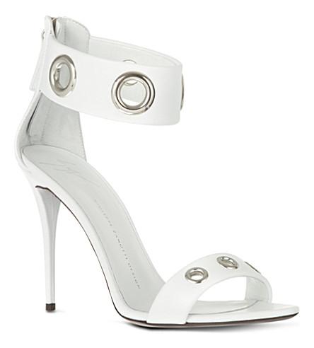 GIUSEPPE ZANOTTI Rivets leather sandal (White