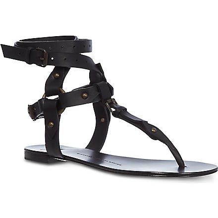 GIUSEPPE ZANOTTI Gladiator matt leather sandals (Black