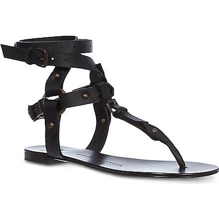 GIUSEPPE ZANOTTI Gladiator matt leather sandals (Black