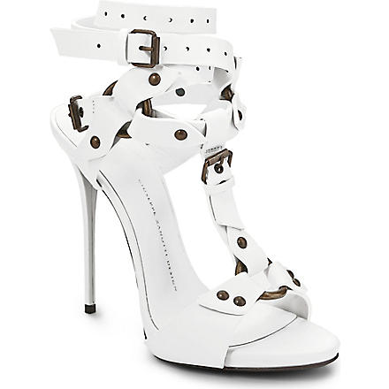 GIUSEPPE ZANOTTI Gladiator leather sandals (White