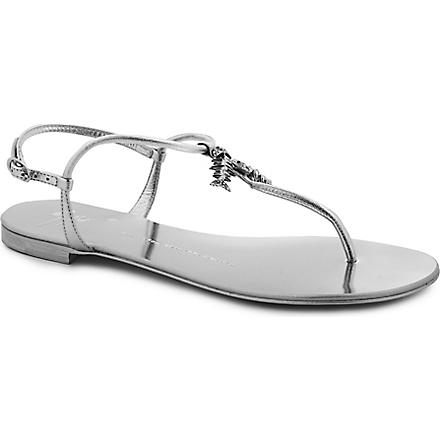 GIUSEPPE ZANOTTI Crystal fish leather sandals (Silver