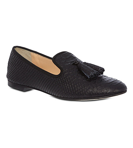 GIUSEPPE ZANOTTI Mock-snake leather loafers (Black