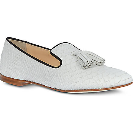 GIUSEPPE ZANOTTI Mock-snake leather loafers (White