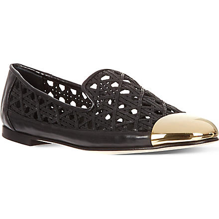GIUSEPPE ZANOTTI Open leather slippers (Black