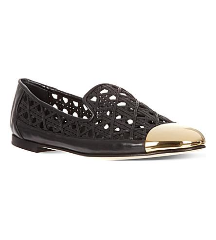 GIUSEPPE ZANOTTI Open leather slippers (Black