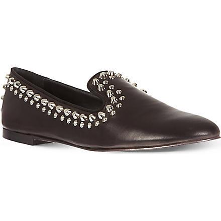 GIUSEPPE ZANOTTI Studded leather slippers (Black