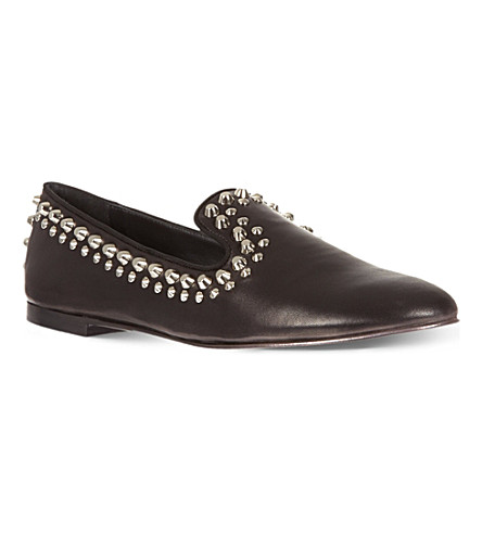 GIUSEPPE ZANOTTI Studded leather slippers (Black