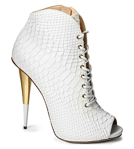GIUSEPPE ZANOTTI Lace-up leather ankle boots (White