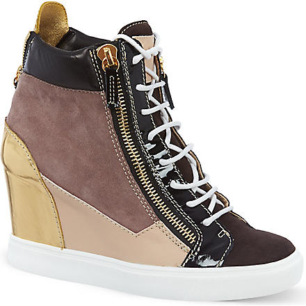 GIUSEPPE ZANOTTI Multi-panel wedge trainers (Dk.brn com