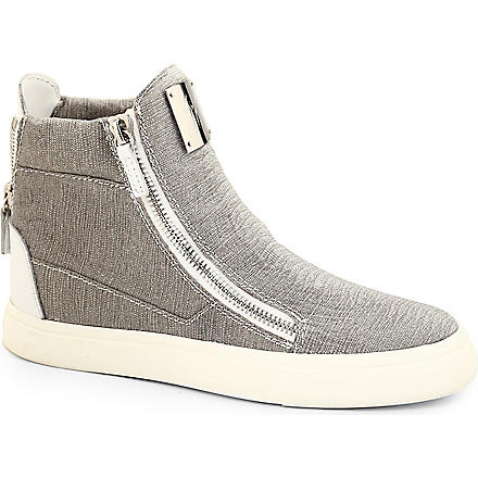 GIUSEPPE ZANOTTI Zip detail high-top trainers (Silver