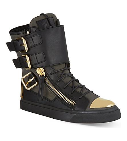 GIUSEPPE ZANOTTI Flat buckle boots (Blk/green